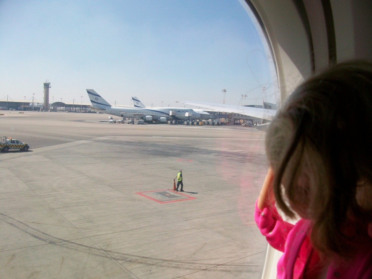 Our first glimpse of Israel: the El Al planes at Ben-Gurion airport.