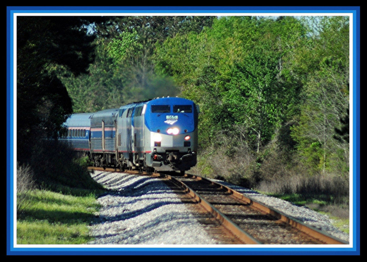Amtrak's Crescent service rounds a bend through Lumberton Mississippi on its way North