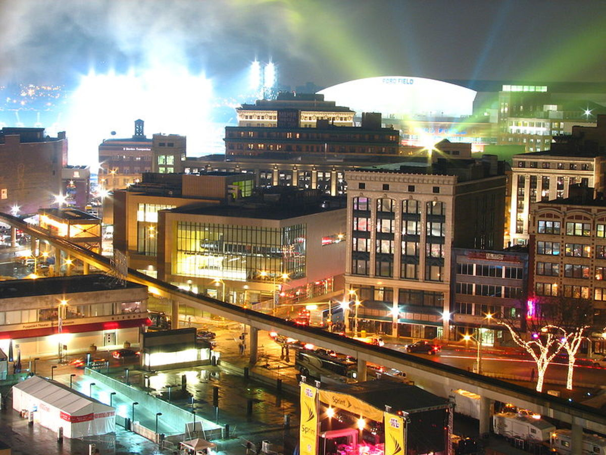 Looking toward Ford Field the night of Super Bowl XL in Detroit