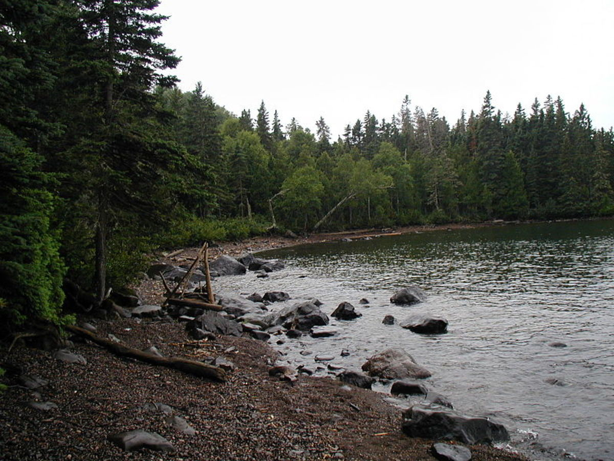 Beach at Huginnin Cove camp area on Isle Royale