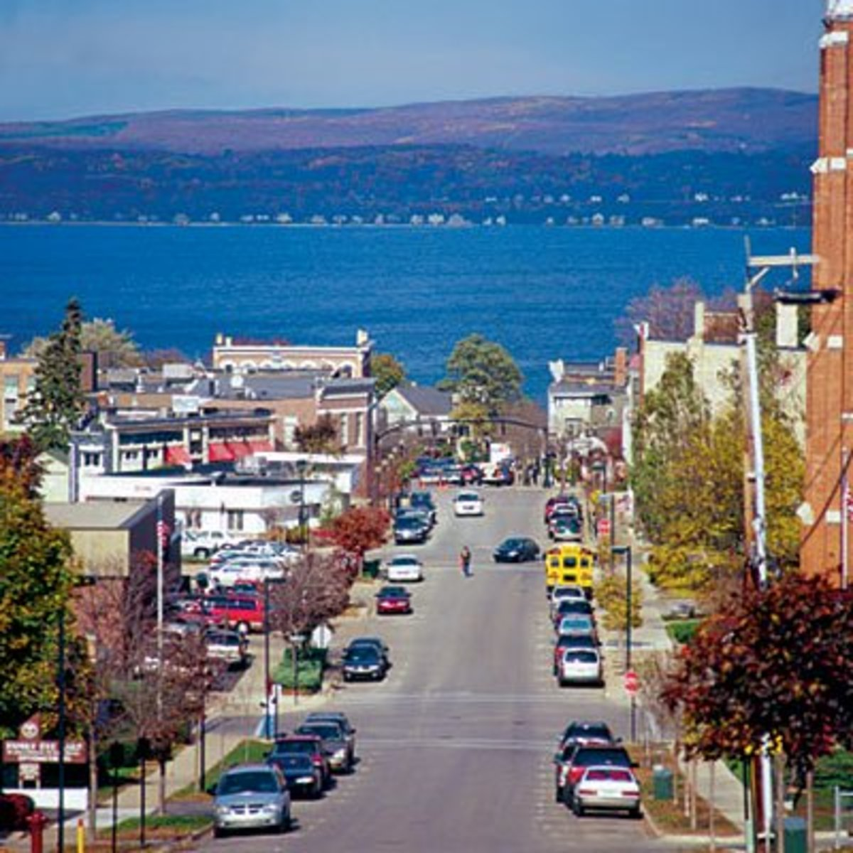 Downtown Petoskey looking towards Little Traverse Bay