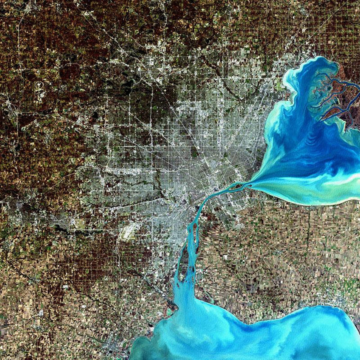Satellite image of Detroit
