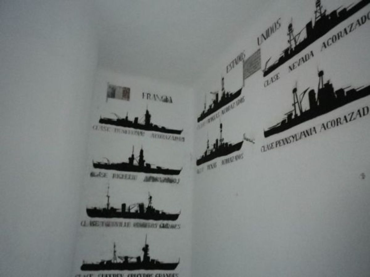 Identification Silhouettes on a Lookout Post Wall—It's Always a Good Idea to Know Who You're Aiming At!