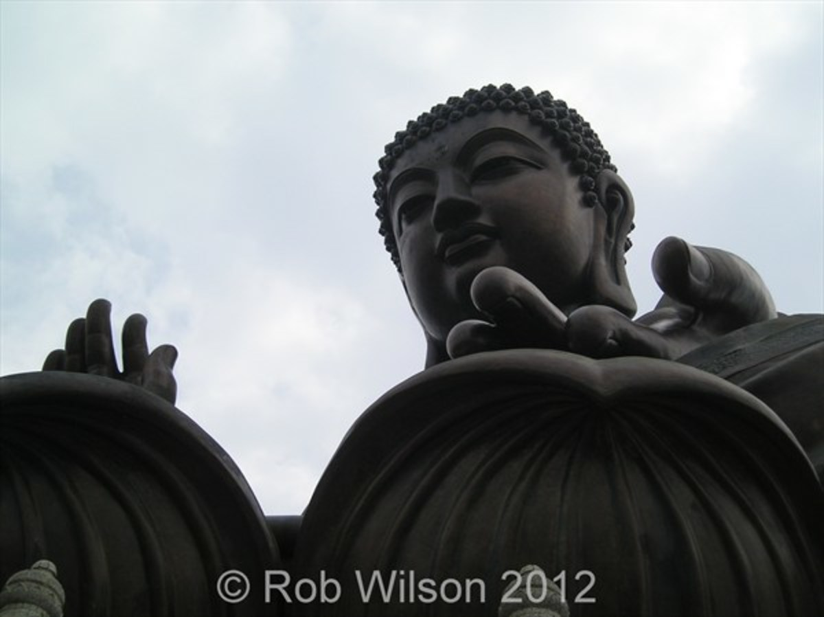 Looking up at Tian Tan Buddha or the Big Buddha at Ngong Ping near Tung Chung Hong Kong.