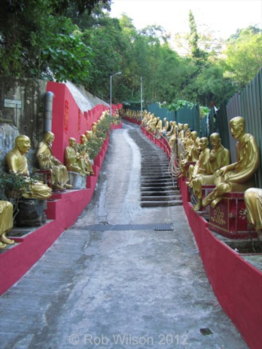 The view on the way up to the Monastery of the 10,000 Buddhas in Sha Tin, Hong Kong.