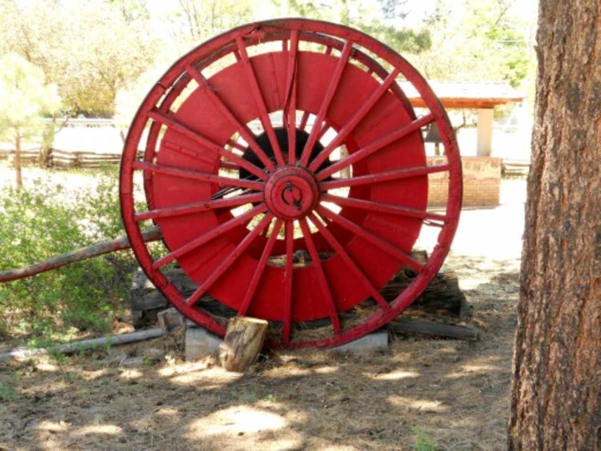Lumber wheels - used to drag lumber over rocky and hilly areas