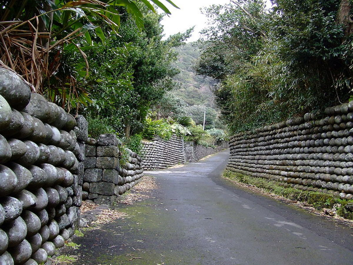 Walls on Hachijojima, Izu Islands.
