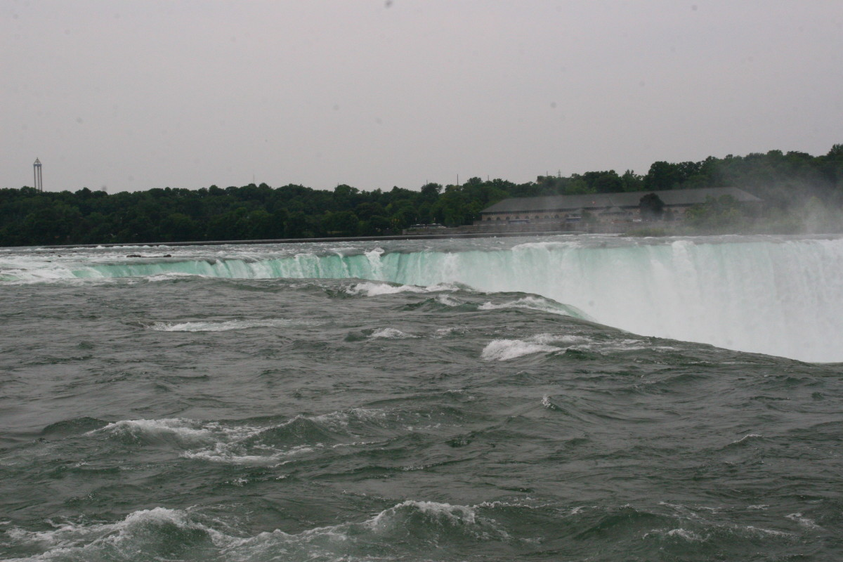 Feet away from the precipice of the Horseshoe Falls on Goat Island.