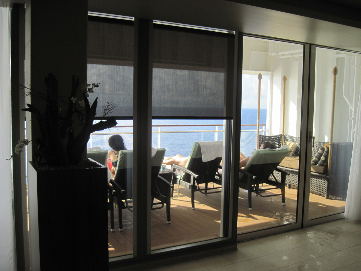 The back deck relaxation area of the spa which looked out off the back of the ship.