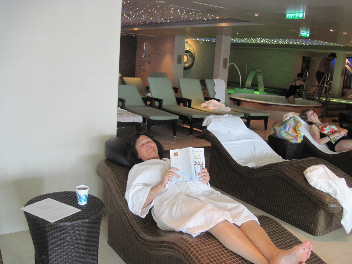 Reading a book in the heated tile relaxation chairs in the co-ed spa. I now know why lizards like to lie on warm rocks in the sun! It's Heavenly.