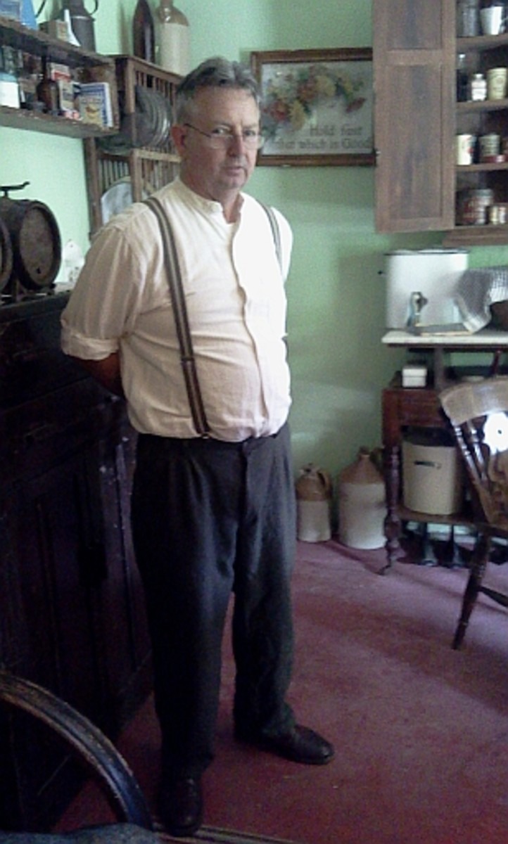 Andrew has a story for every artifact at The Tin Shed. Here he is in the 1930s cottage.