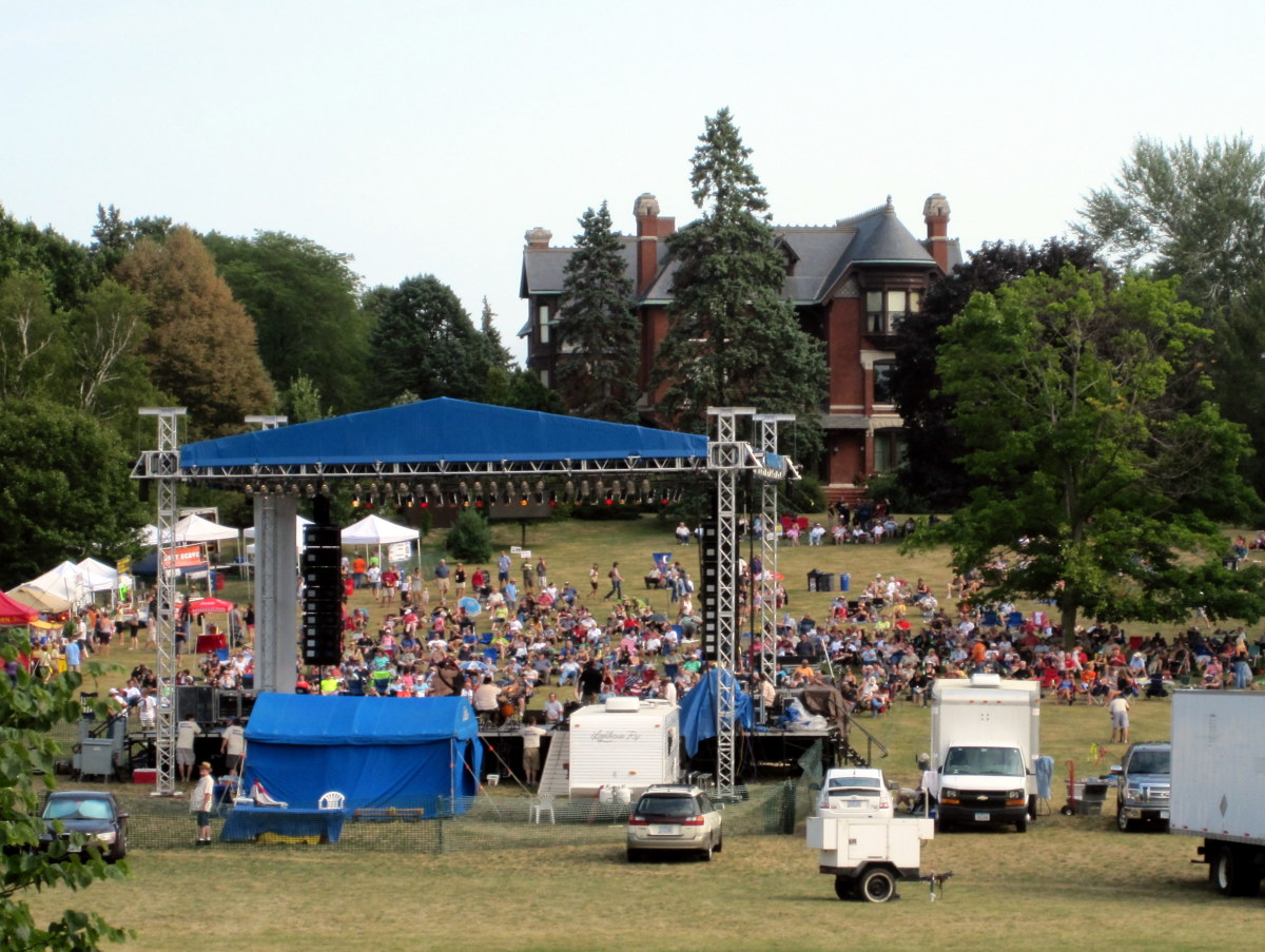 The mansion's front lawn is the venue of the annual Bluesmore music festival.