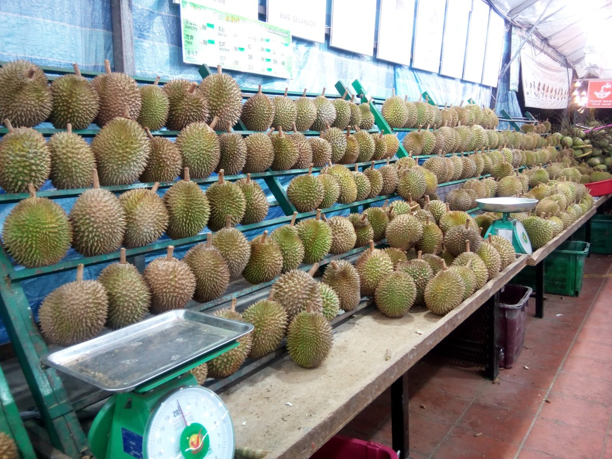 A durian stall at the Durian Station in Petaling Jaya