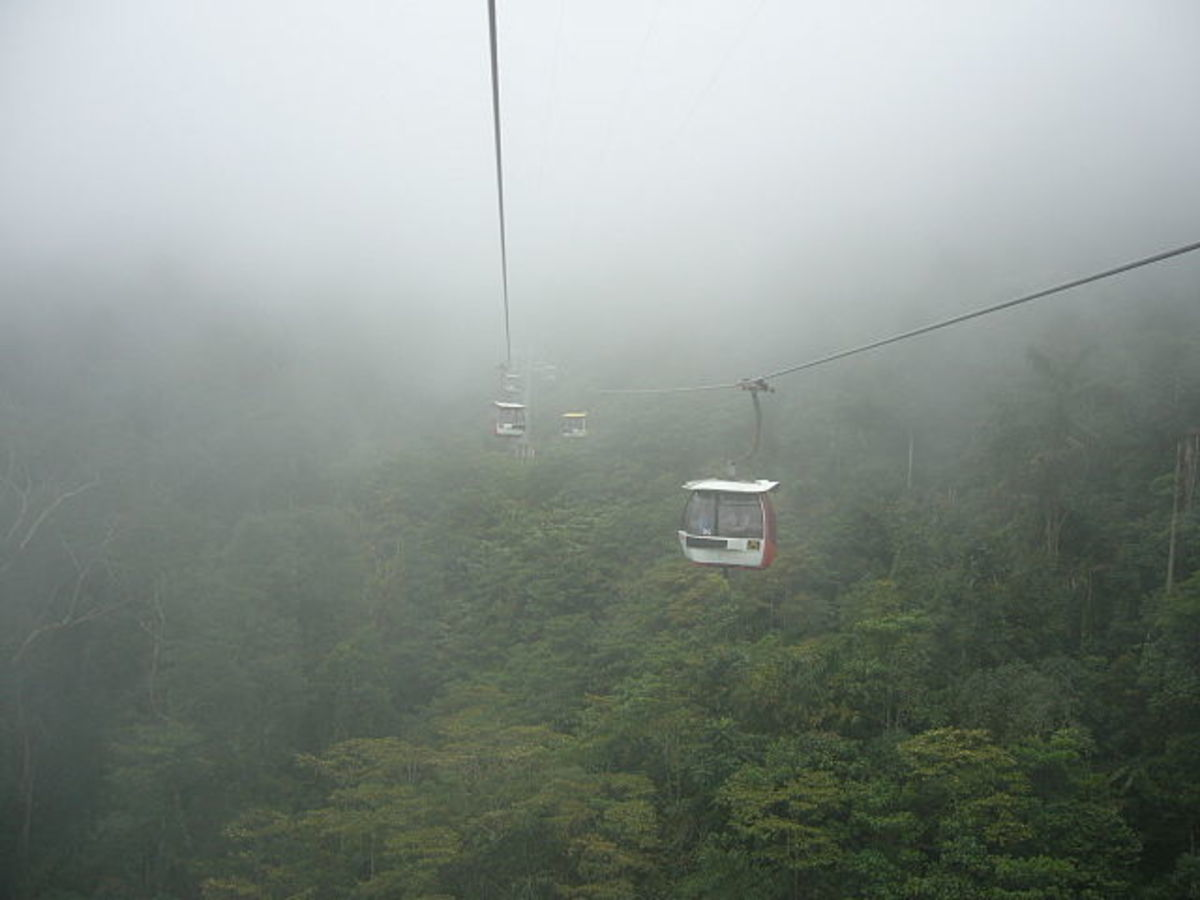 This is what the view looks like in a cable car to Genting Highlands.