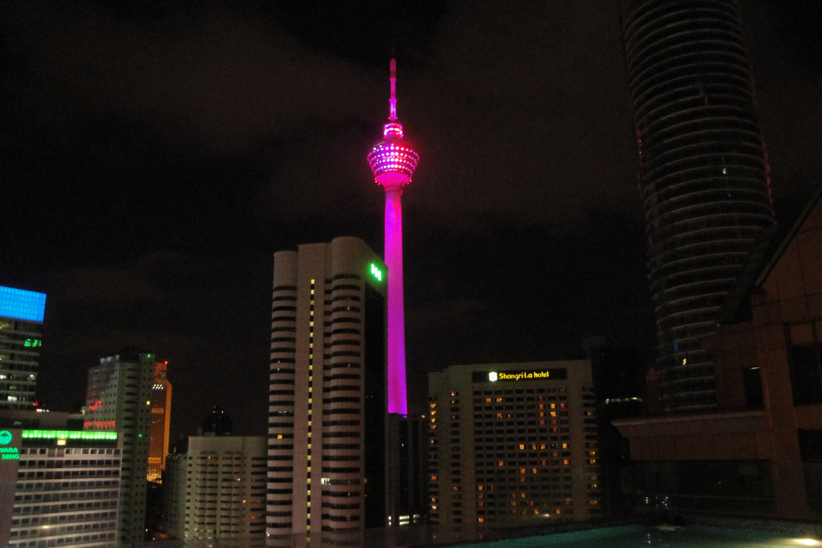 On national day and other events, Kuala Lumpur Tower is lighted up in different colors at night.