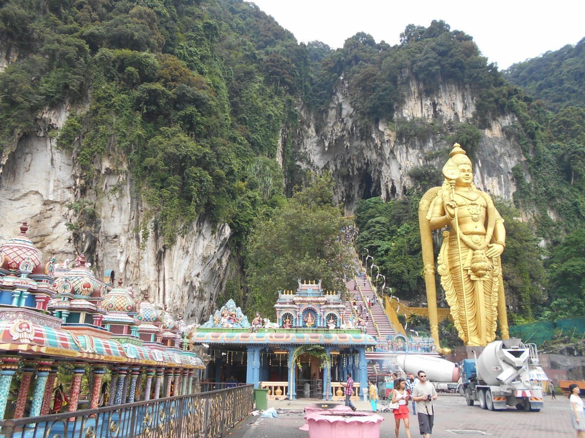 Murugan statue at the entrance to Batu Caves in Gombak.