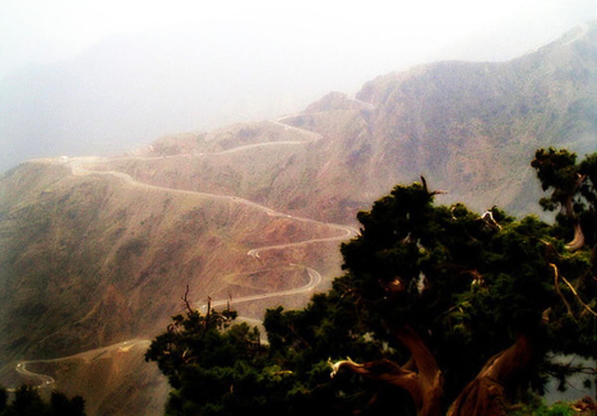 Mountainous terrains around Abha