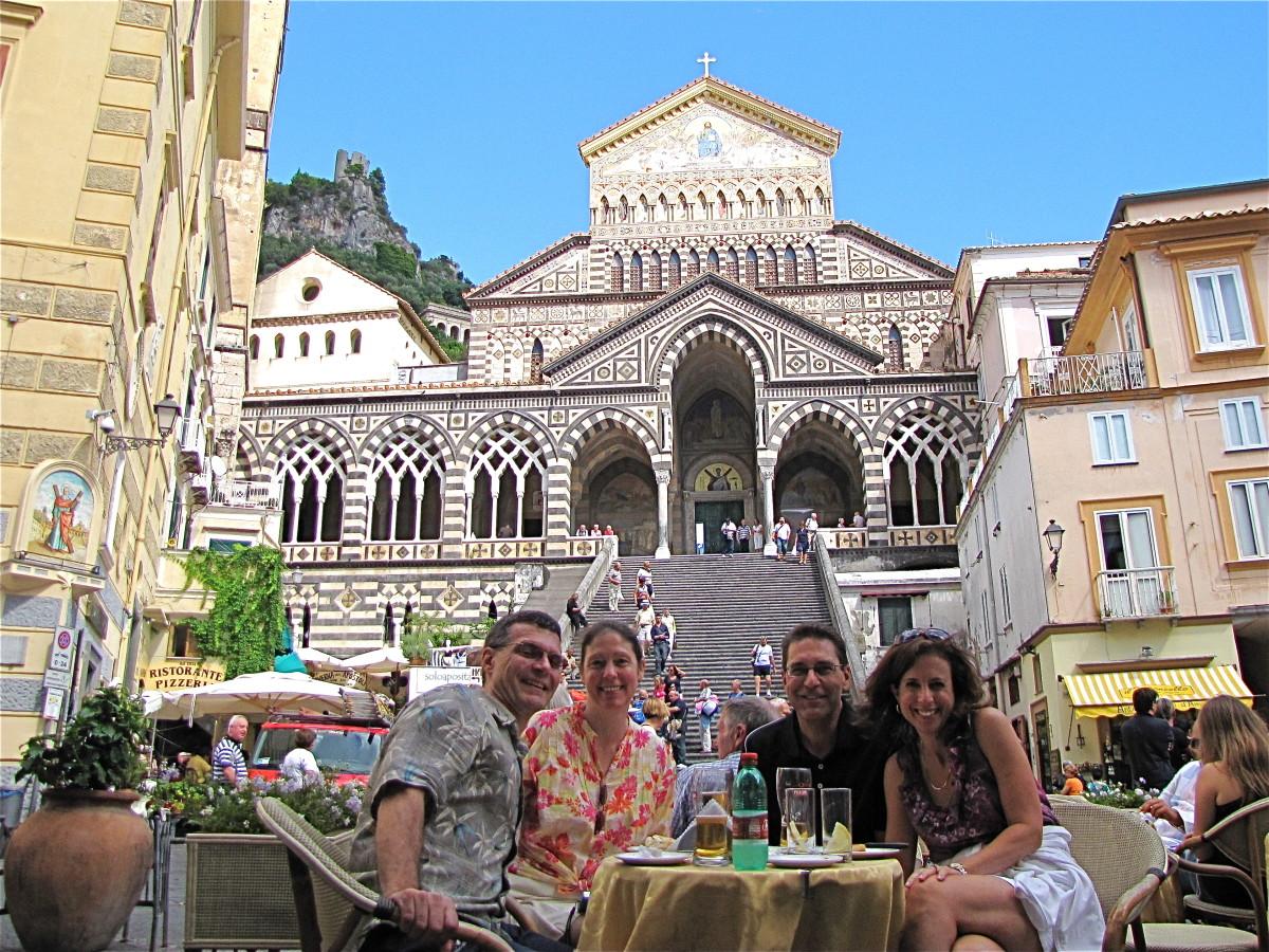 Taking a break in Piazza Duomo, Amalfi.