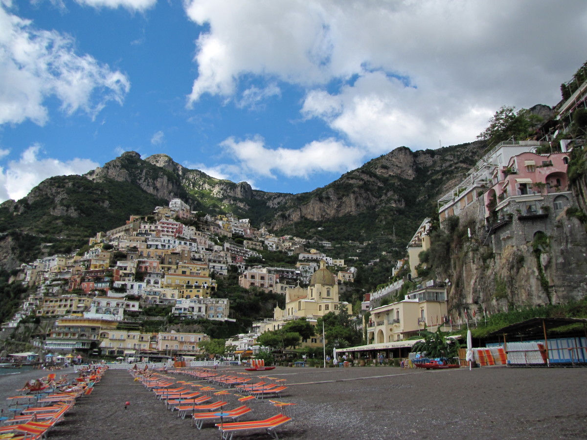 Looking back at Positano from the shoreline.