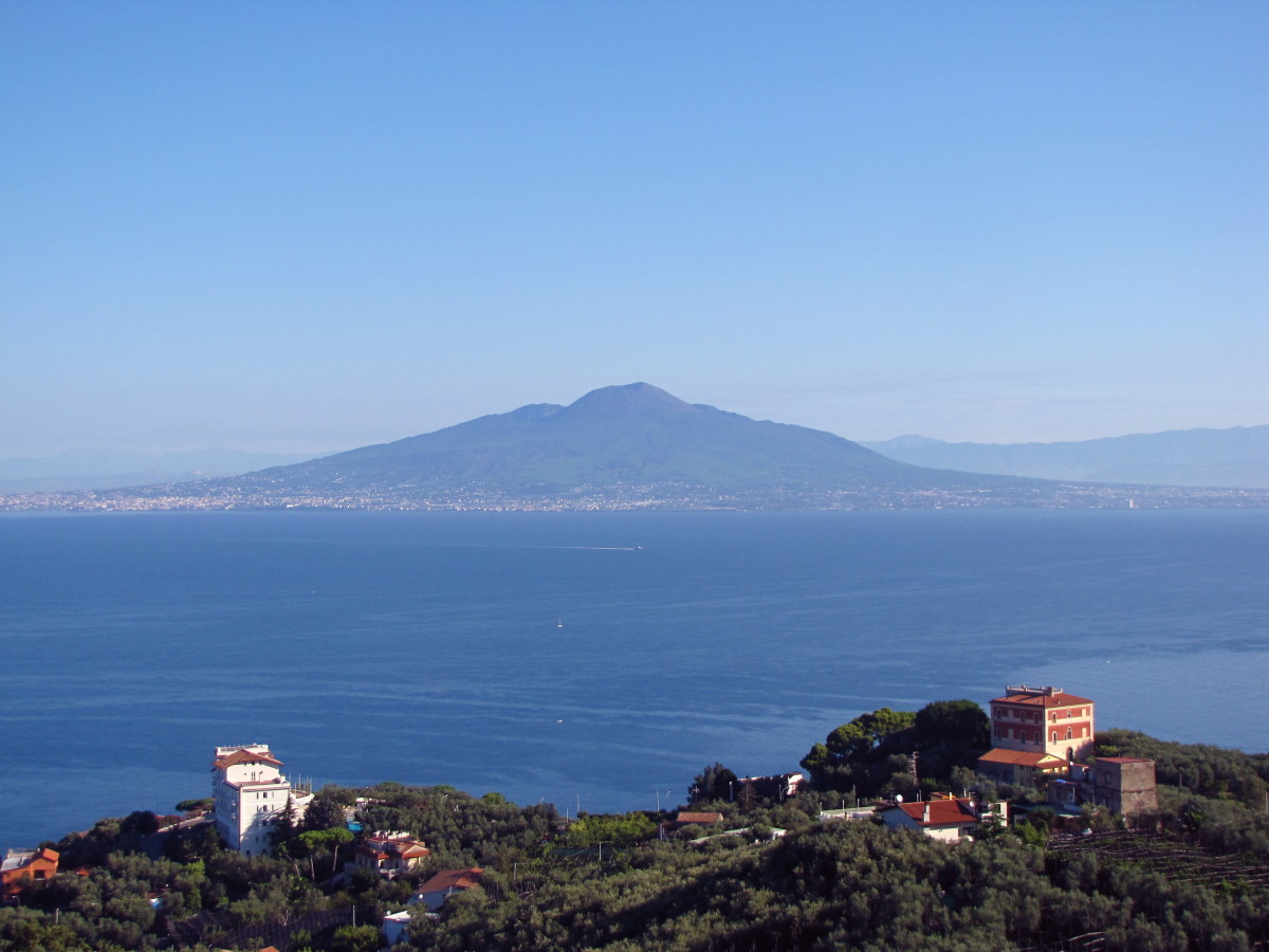 The view from our place above Sorrento.  That's Mount Vesuvius.