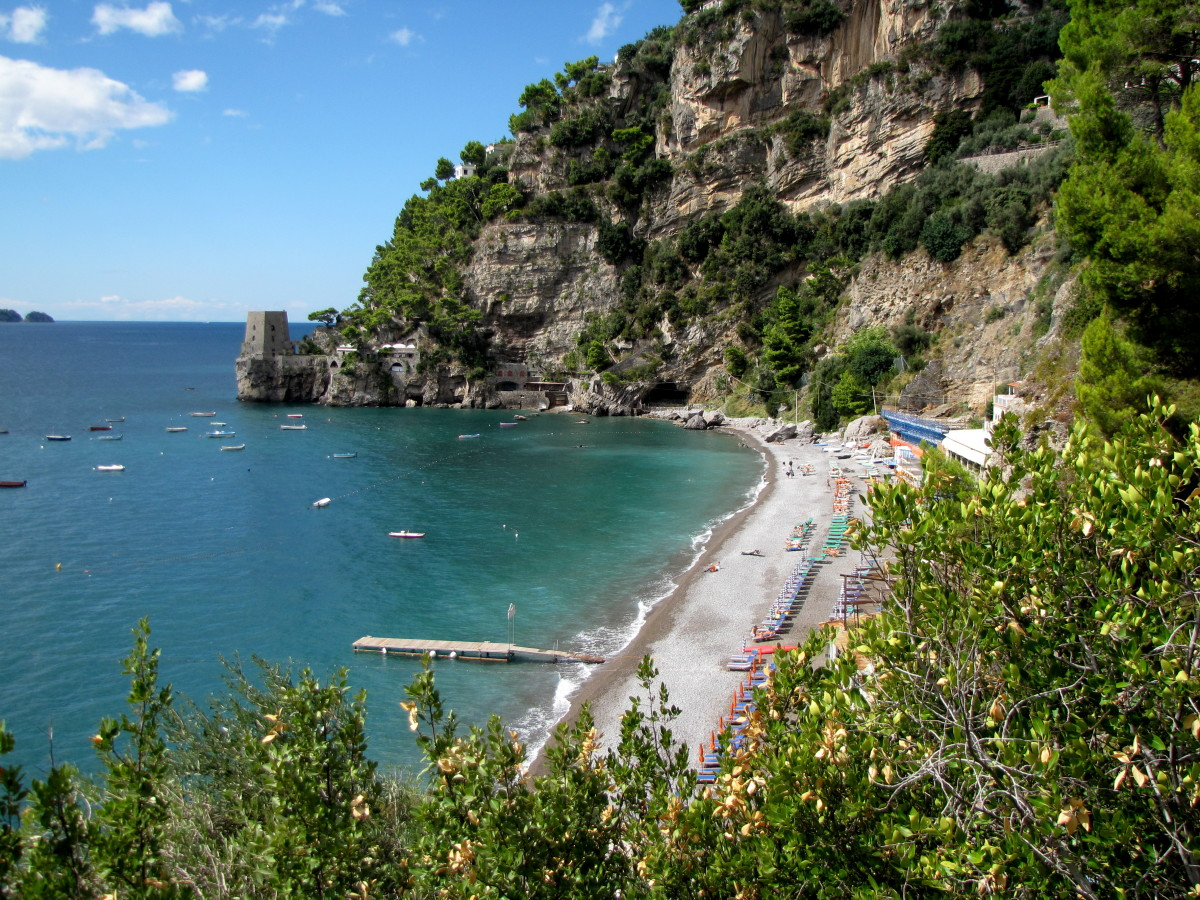 Beautiful secluded beach just west of Positano