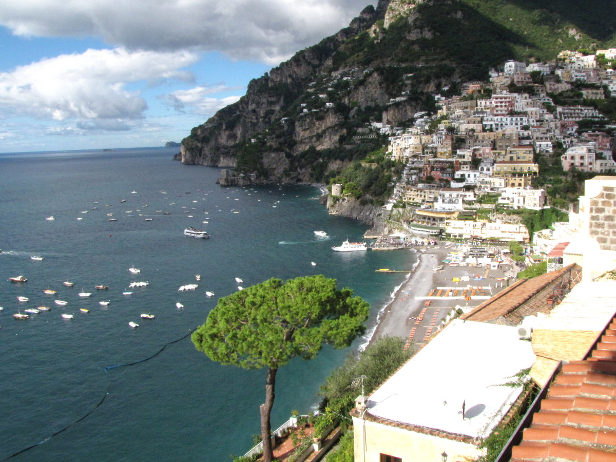 Looking down on Positano.