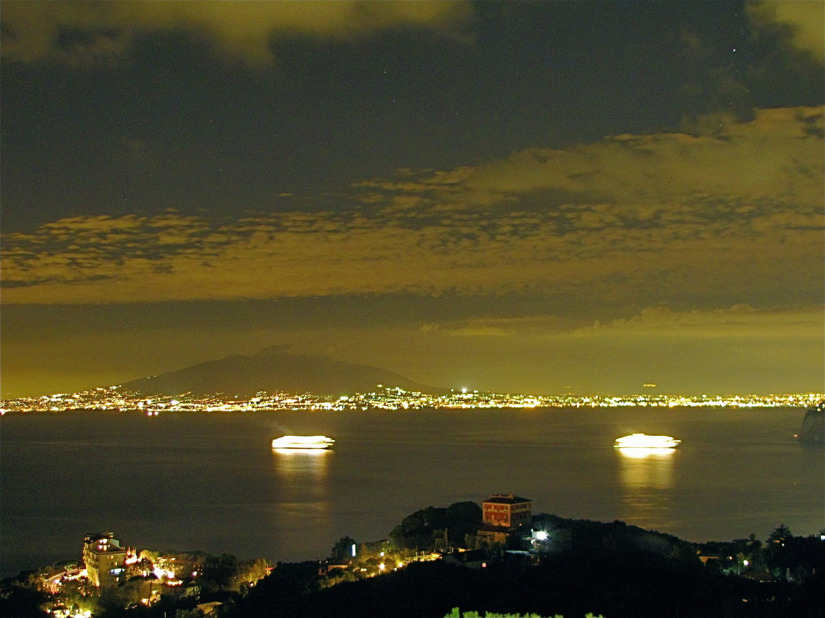 The night view from our hotel in the hills above Sorrento.