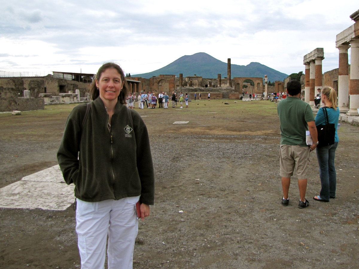 Pompeii with Mt Vesuvius in the background.