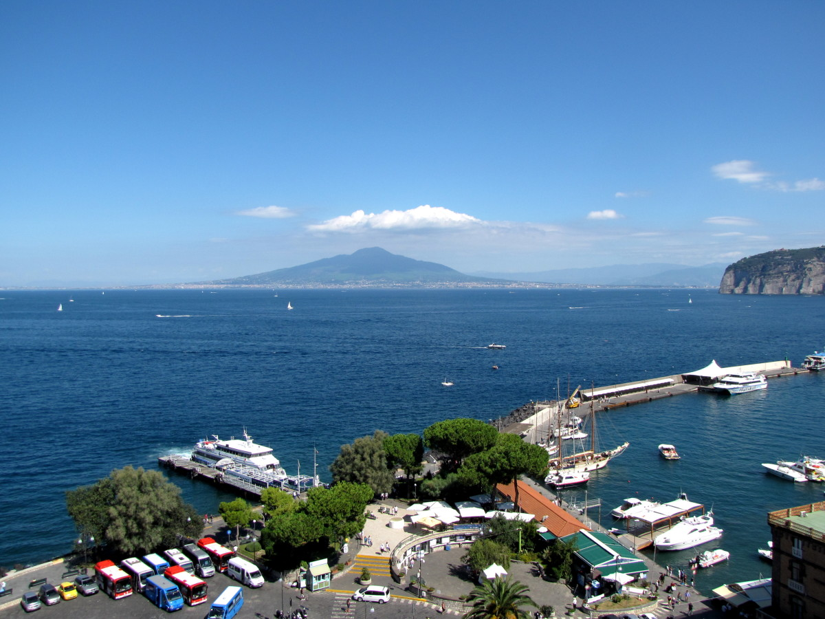 Marina Piccola with Mt Vesuvius across the Bay