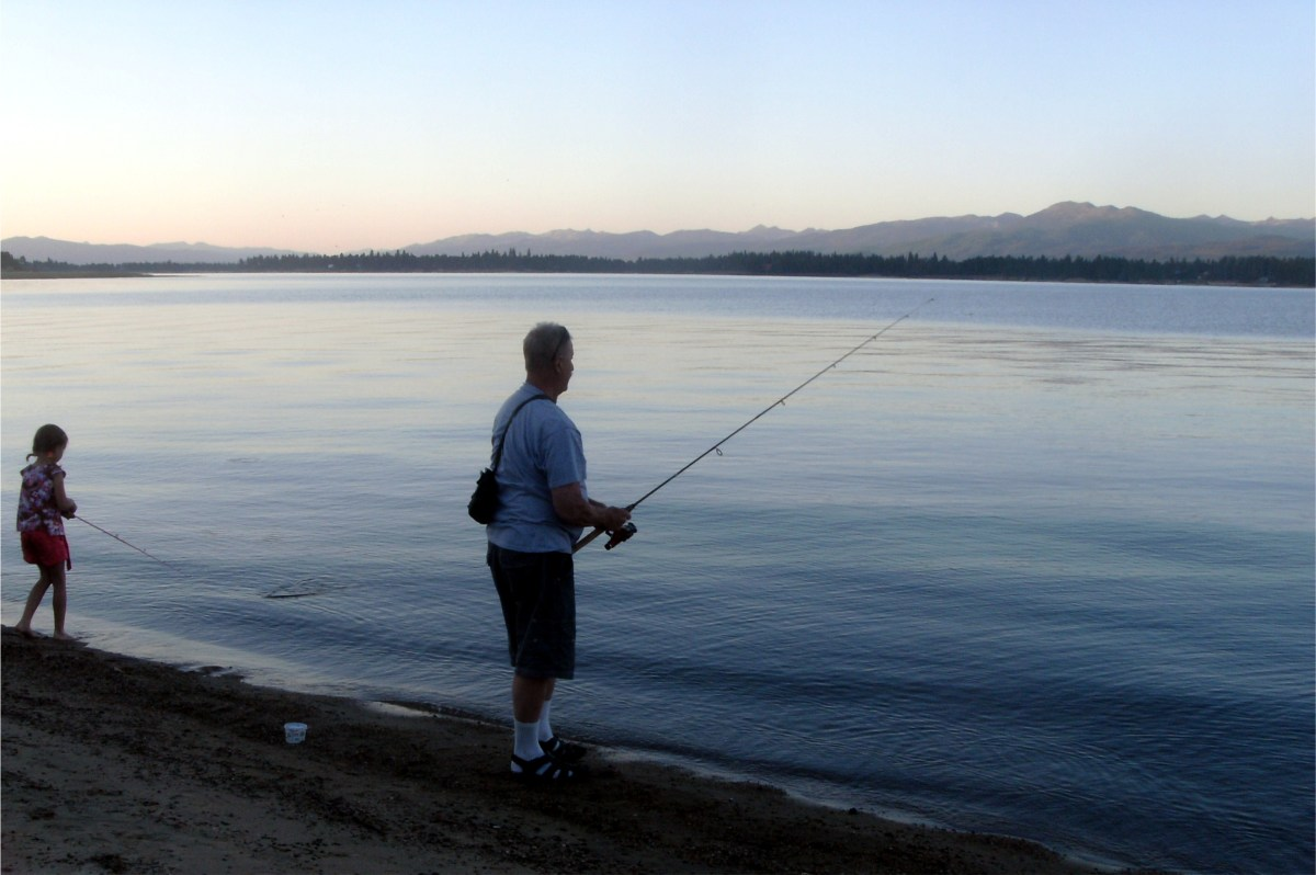 Fishing with my niece as dusk falls over Lake Cascade