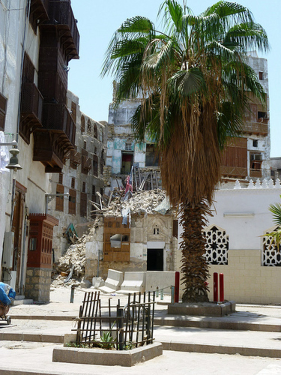 Part of an old building in Al-Balad area, demolished for development.