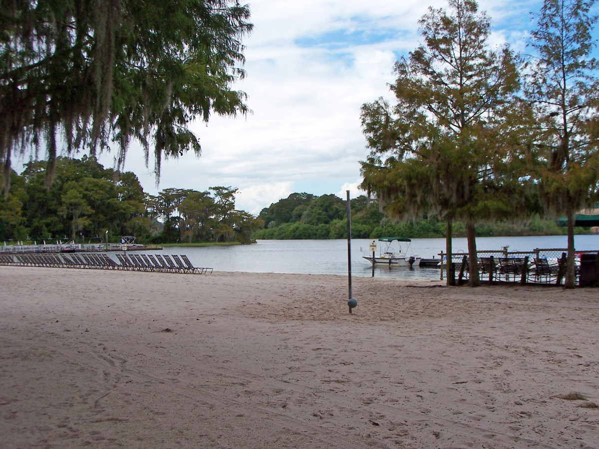 If you get tired of the pool, Fort Wilderness is located against a blue water lagoon
