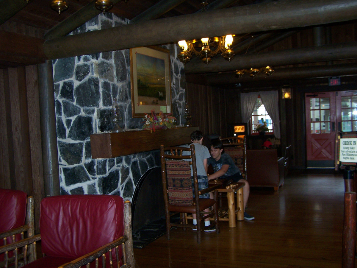 Cozy, rustic lobby in the Reception Outpost