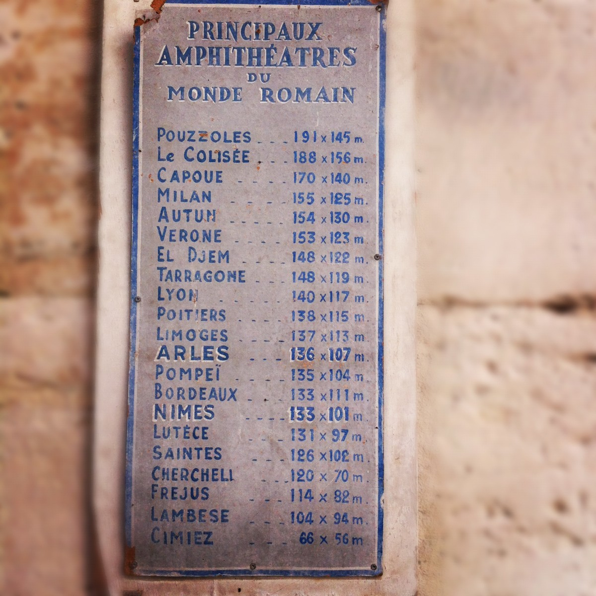This plaque, just inside the entrance, shows that the Arles Amphitheater was the 12th largest in ancient Rome.