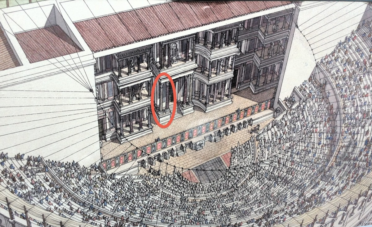 This illustration shows the original theater in the times of the Roman Empire. The two columns circled in red are all that remain of the ornate stage.