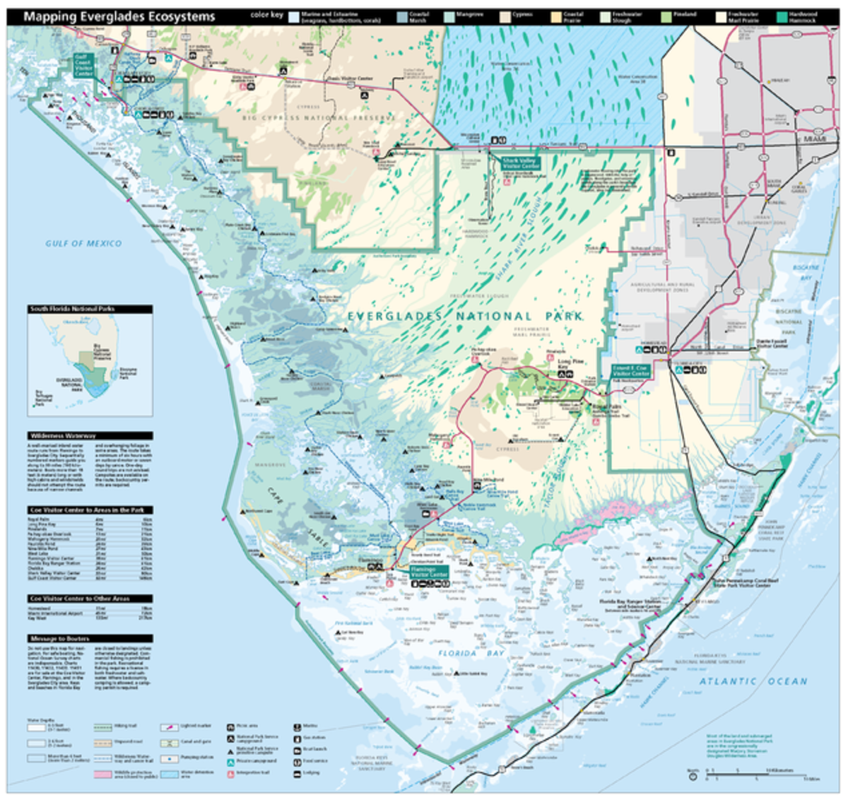 A map of the Everglades.