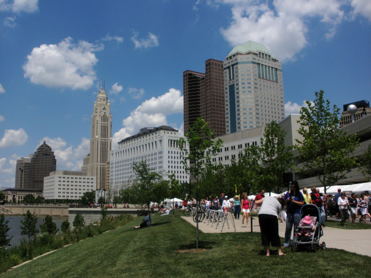 "Visit the Scioto Mile, the location of many Columbus festivals, including the Arts Festival, which is seen here, ""Red, White and Boom!"" fireworks display,  and the Jazz and Ribs Festival."