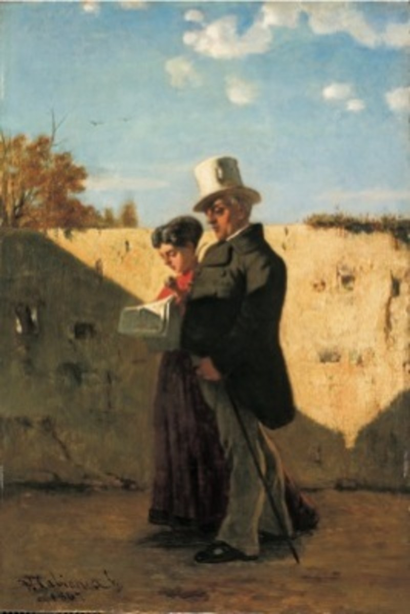 La Passeggiata - the father and sister of the painter. Painted by Vincenzo Cabianca (1867).
