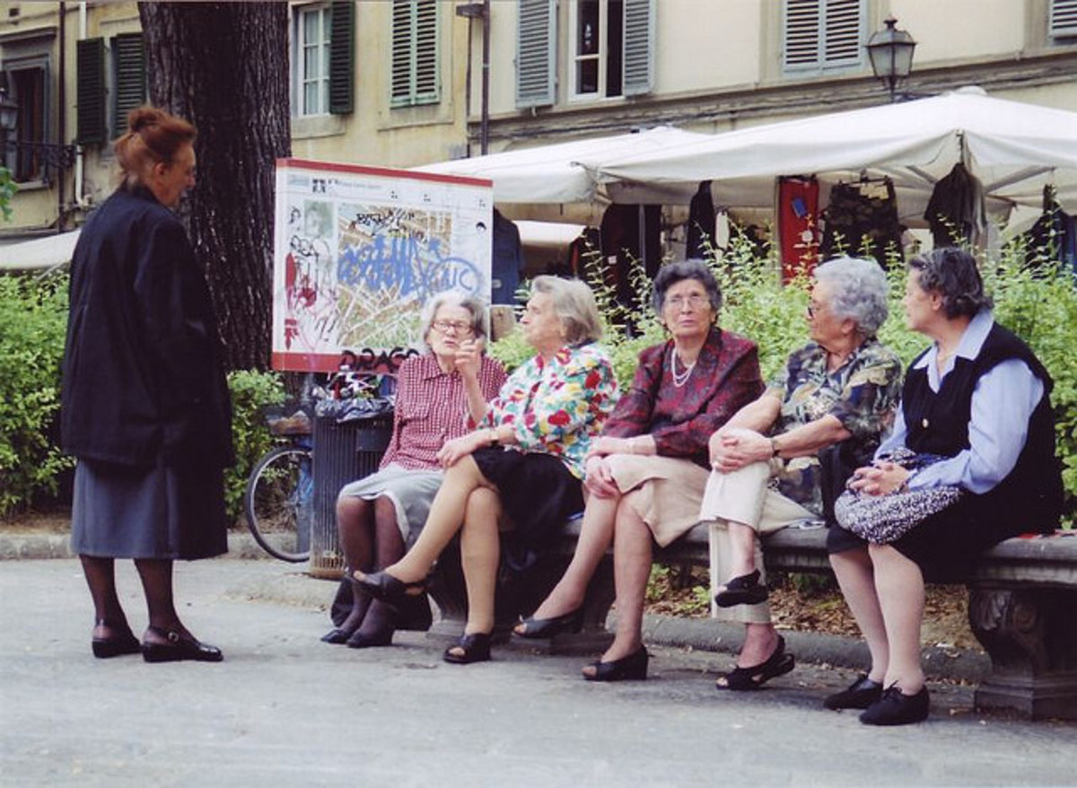 The Italian mamas catching up on the latest gossip during La Passeggiata in Florence.