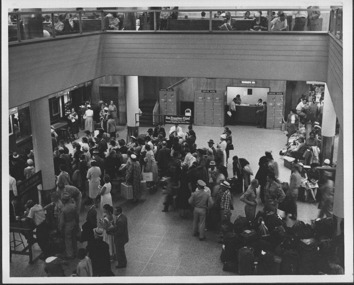 Interior of Dearborn Station, circa 1955.