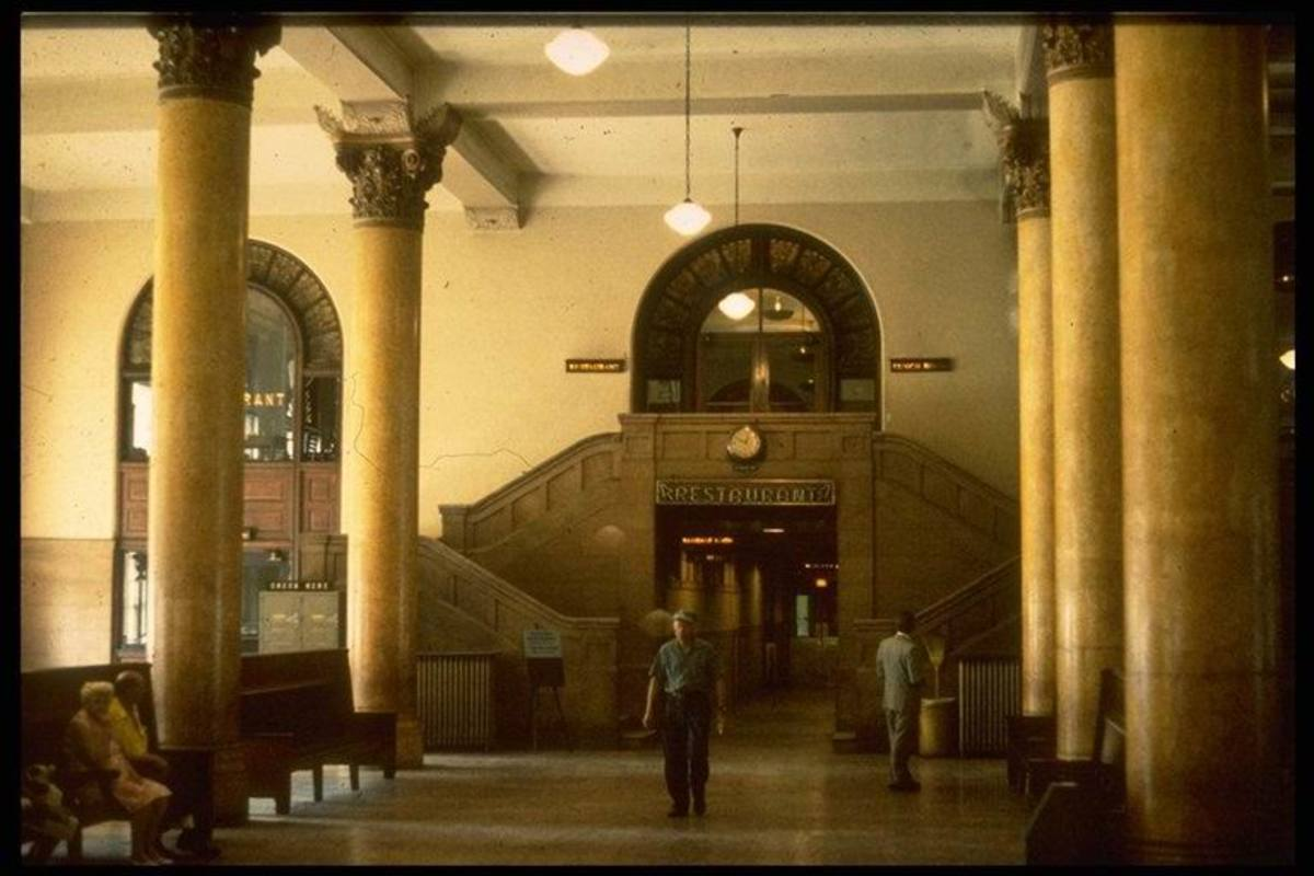 The Corinthian columns and magnificent interior of the Grand Central Station, circa 1966.