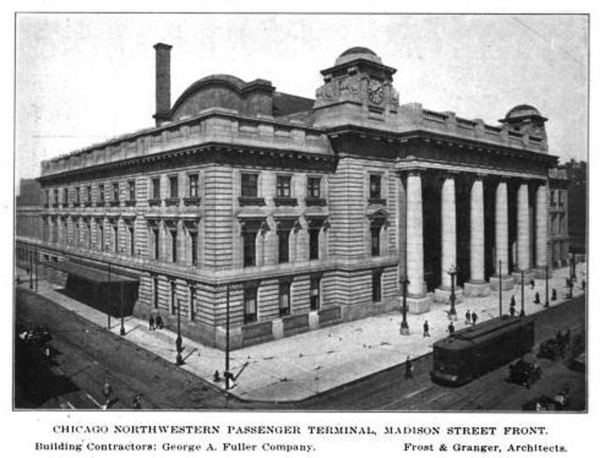 Architectural photo of the Chicago & Northwestern Terminal, circa 1913.