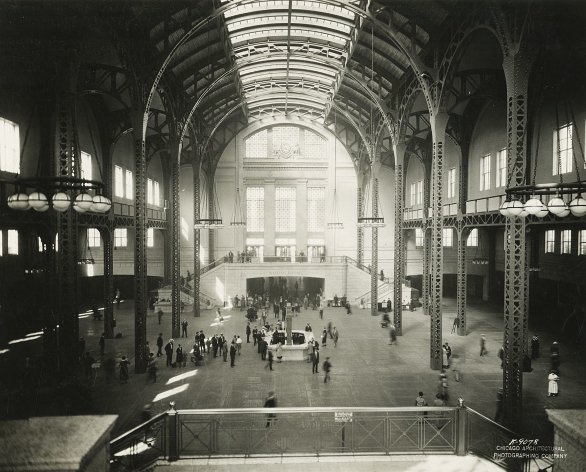 Architectural photo of the Union Station train concourse before it was demolished for air rights in the late 1960s.