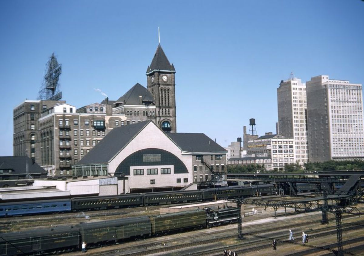Illinois Central Station in 1955 as seen from The Field Museum.