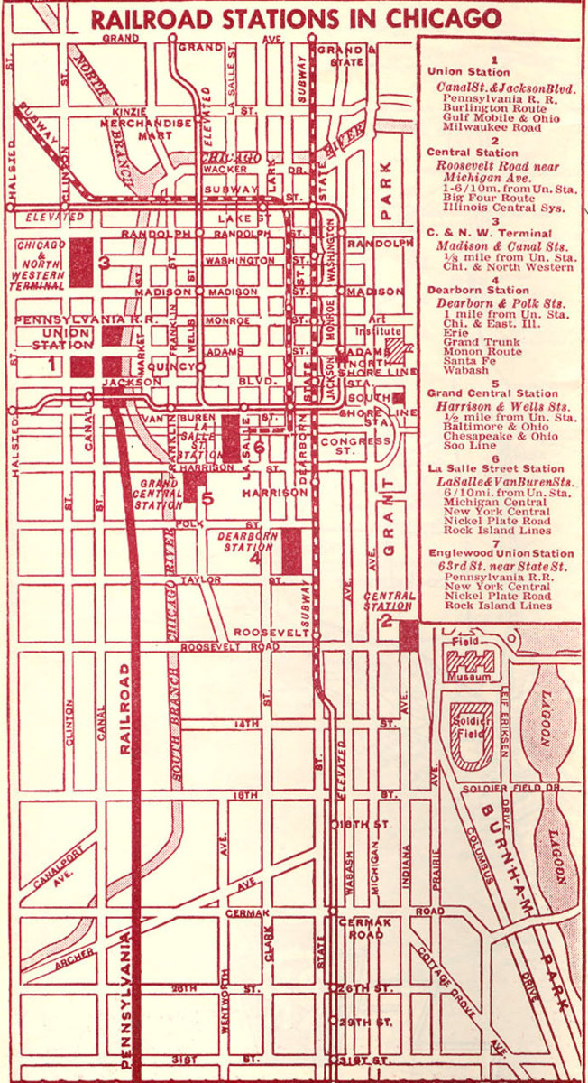 Map of Chicago's Passenger Railroad Stations from 1958.