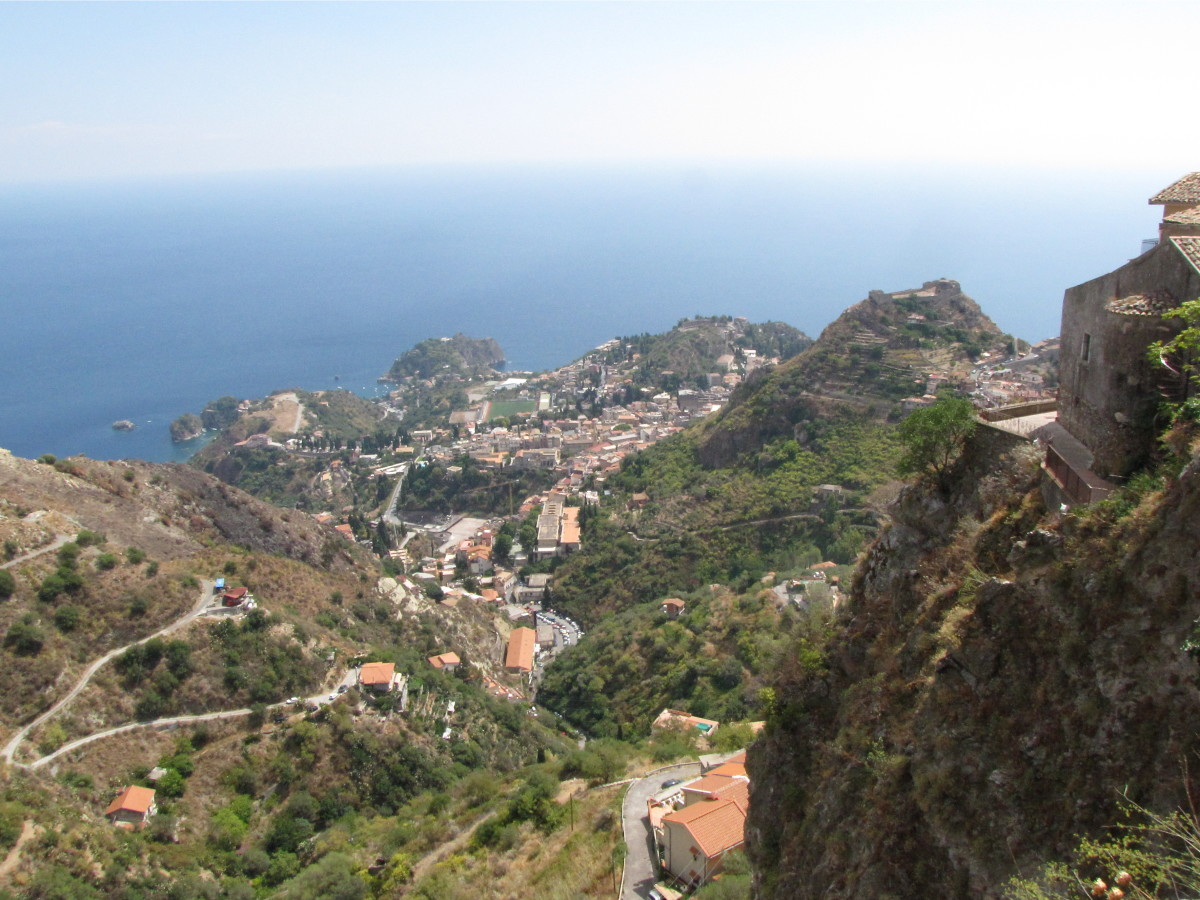 The view from Castelmola looking down on Taormina.