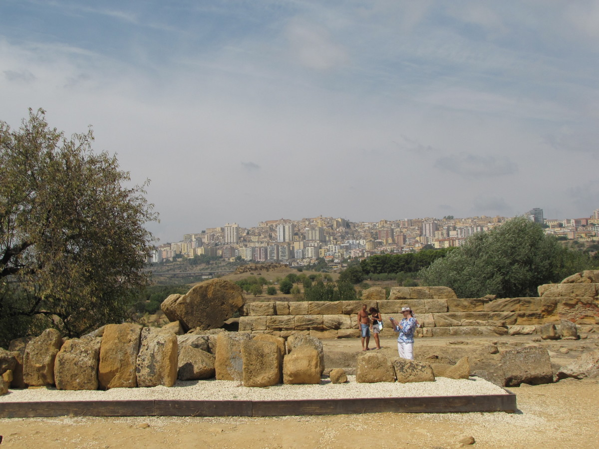 Modern Agrigento in the distance