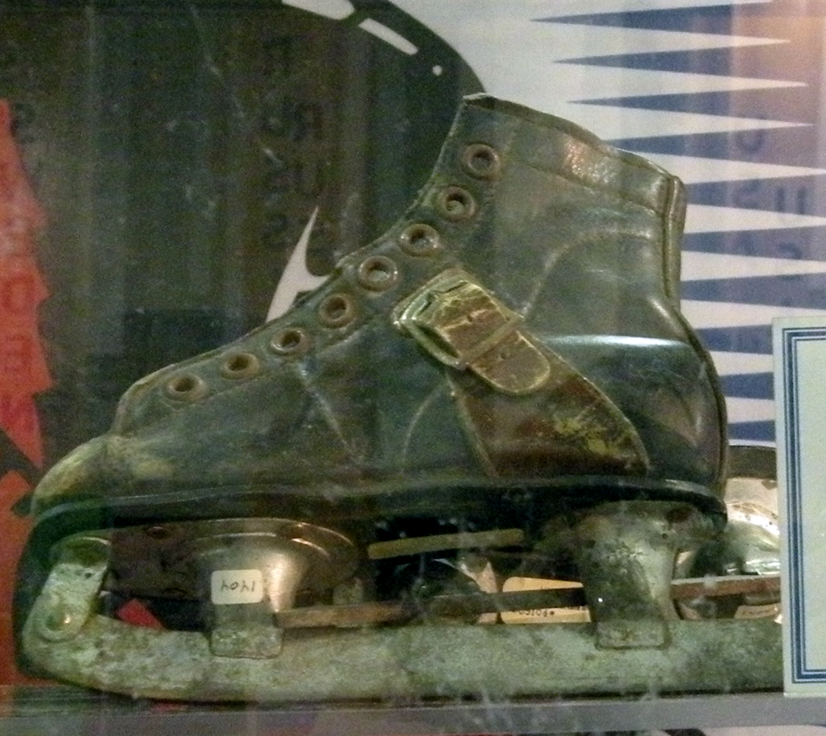 This is the pair of skates worn by the three year old Wayne Gretzky. The legendary hockey player grew up in Brantford, Ontario.