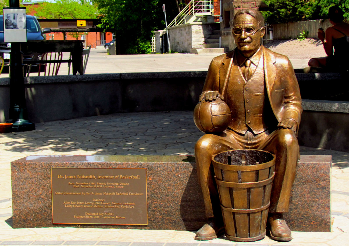 Sculpture of Dr. Naismith located in his hometown of Almonte, Ontario.
