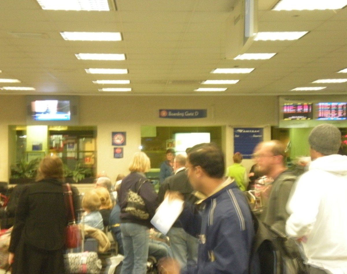 The Amtrak South boarding area can be crowded and confusing.